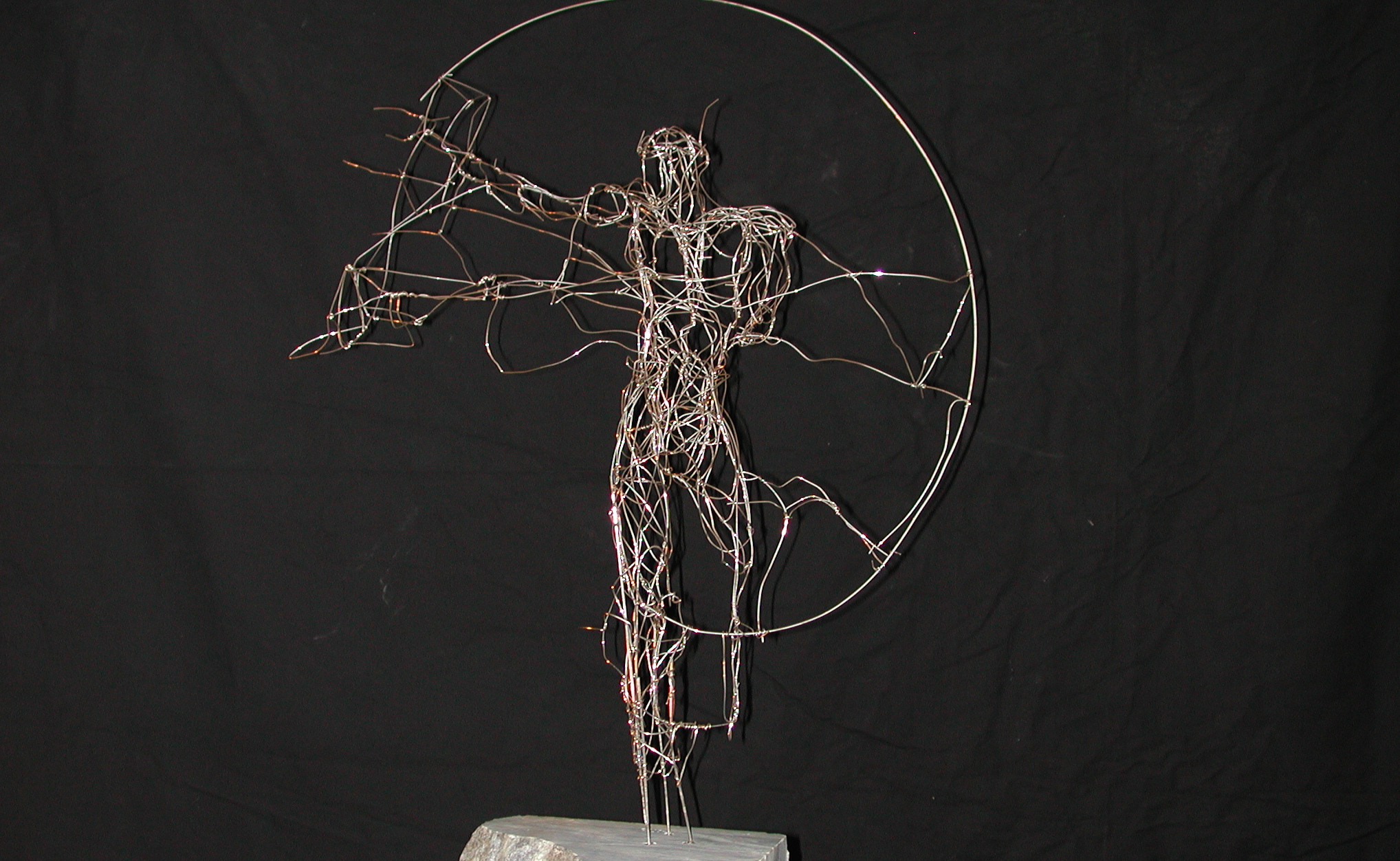 """Central Frequency from Right Side"", copper wire, nickel-plated, 55 x 45 x 25 cm, 2001"