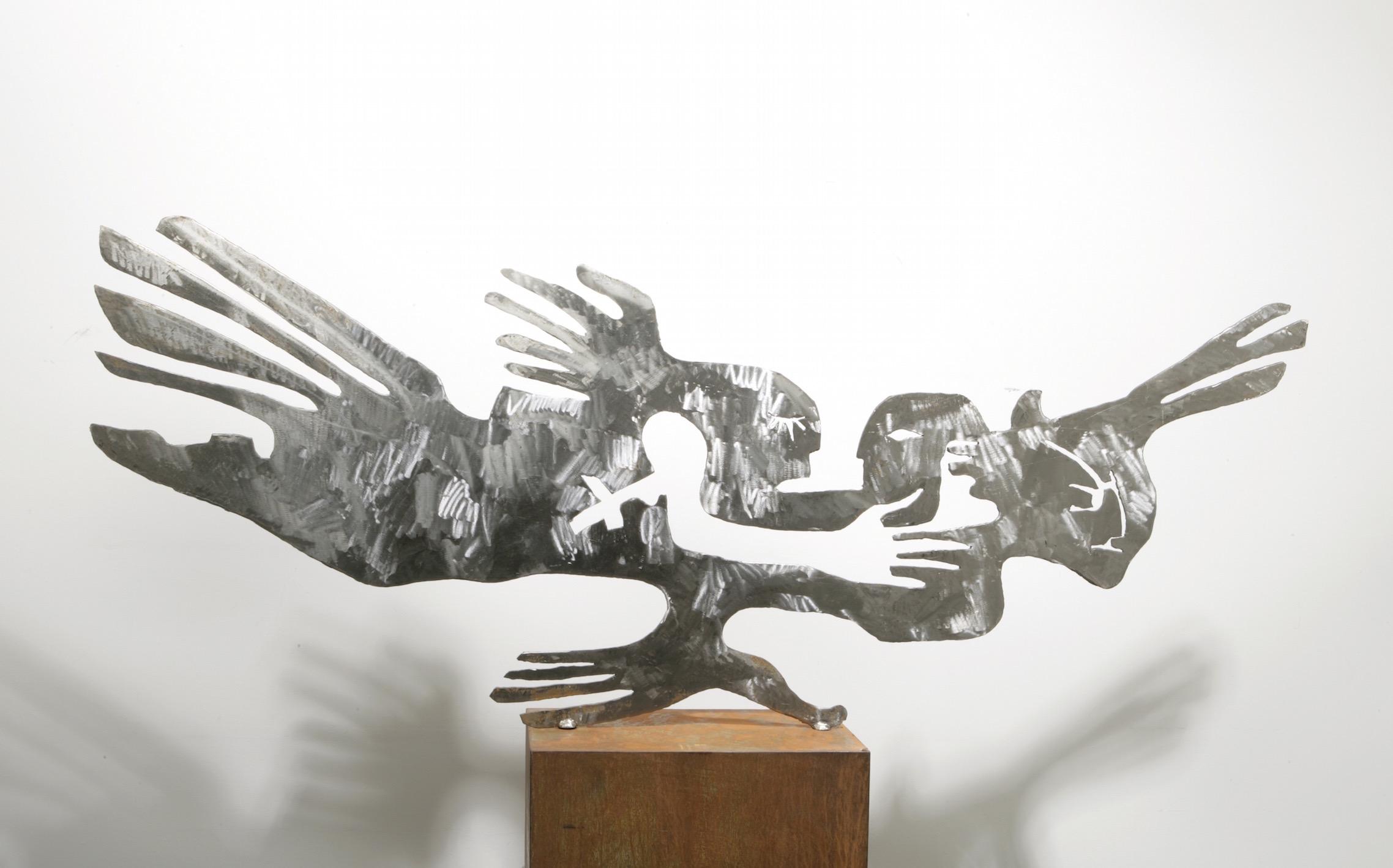 """Noospheric Bird"", Stahl, 165 x 60 x 0,5 cm, 2004"