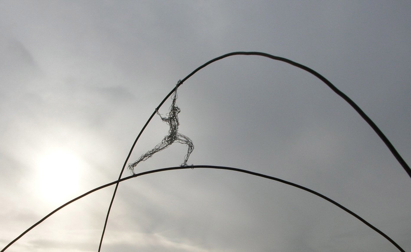 """Sky Walker"" (model), steel, stainless steel wire, 100 x 80 cm, 2007"