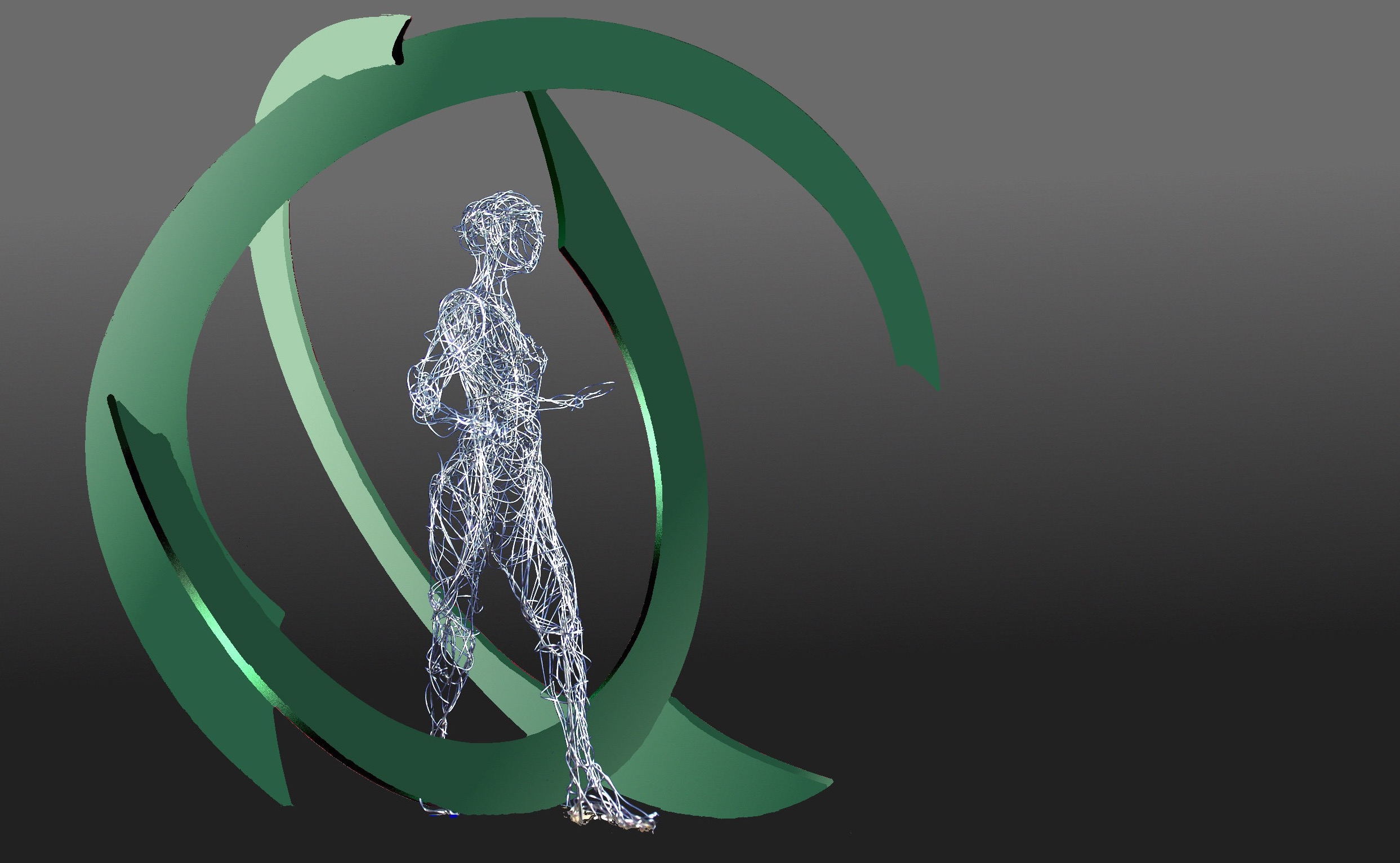 """Cycles of Life"" (Modell), Edelstahl, Edelstahldraht, 180 x 180 x 165 cm, 2010"