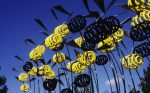 """Flight of Bumble Bees"", springs, stainless steel, 800 x 120 x 230 cm, Brandt KG, Anröchte, 1997"